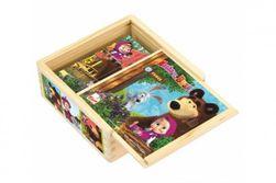 """Kocky kubus drevené Máša a Medveď 9ks v krabičke 13x13x5cm 12m + """"ZpětVynulovatSave Option RM_82016117"""