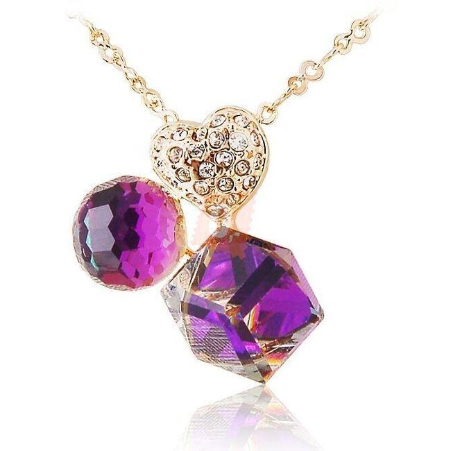Elegantní náhrdelník s růžovými kameny a srdcem - zlatá barva 1
