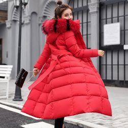 Dugački prošivani kaput Crvena bez krzna-veličina br. 3