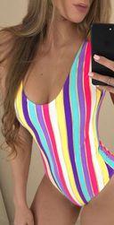 Jednodelni kupaći kostim u duginim bojama