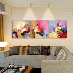 Absztrakt olajfestmény, vászon - háromrészes festmény