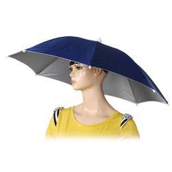 Deštník na hlavu - modrá barva