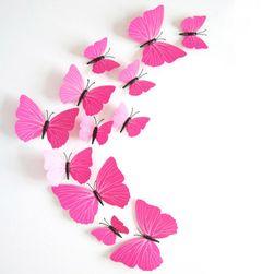 3D наклейки розовых бабочек