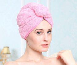 Gyorsan száradó turbán a fejen - rózsaszín PD_1601266