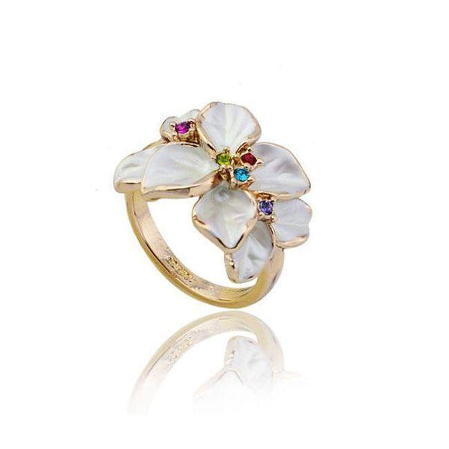 Dámský prstýnek s bílými květy a barevnými kamínky 1