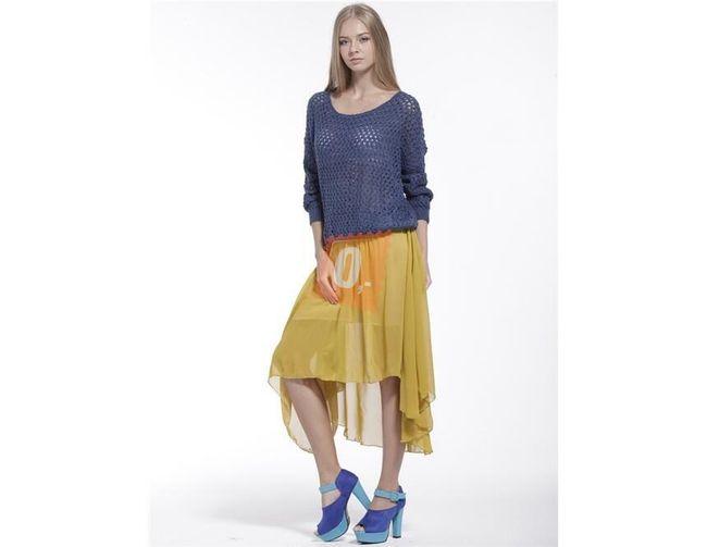 Dámská nepravidelná sukně - khaki 1