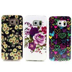 Ochranný zadní kryt s designem květin a srdcí pro Samsung Galaxy S6 Edge