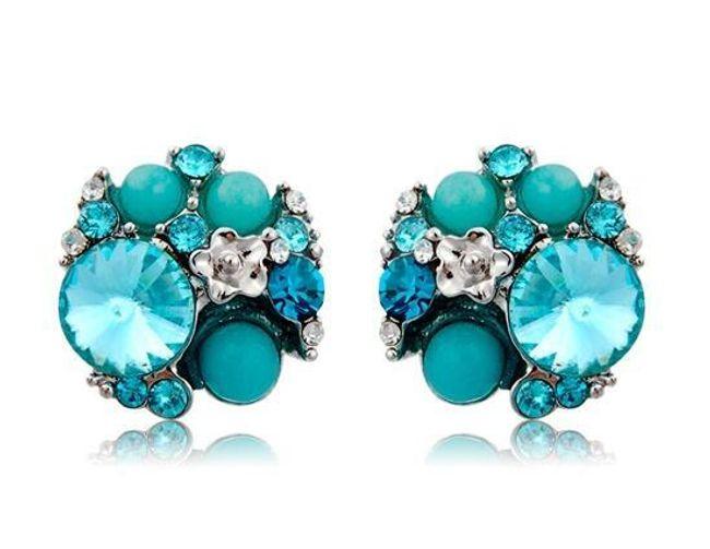 Modré náušnice s kamínkem 1
