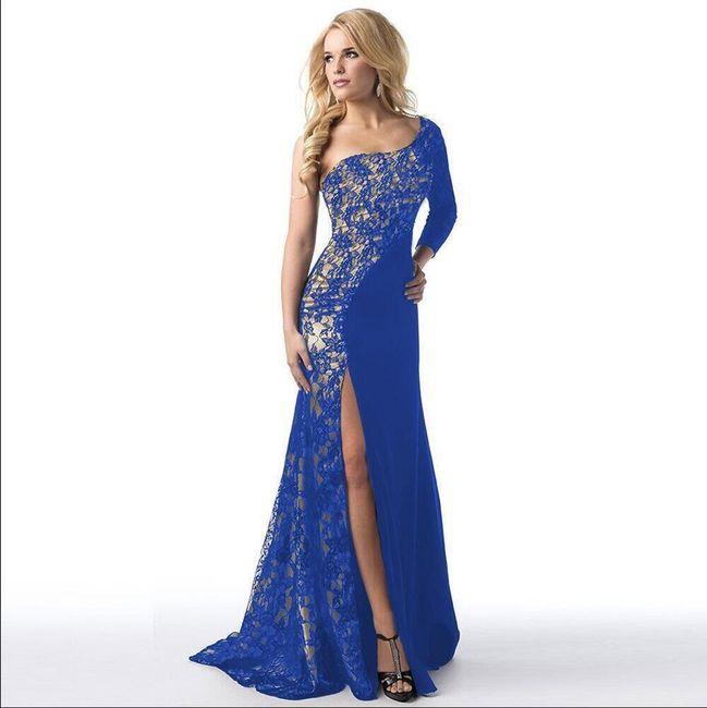 Společenské šaty v elegantním provedení - modrá-3 1