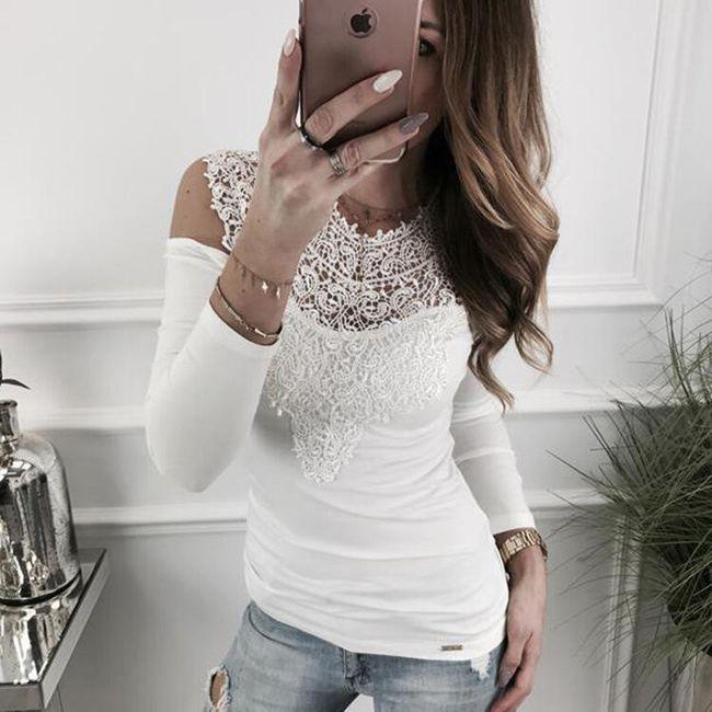 Elegantní tričko Anneke s krajkami - Bílá-M 1