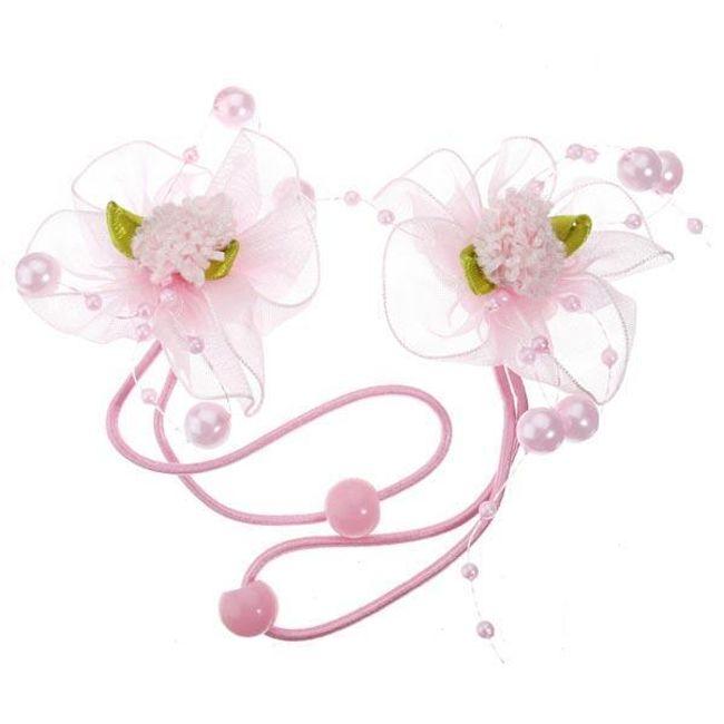 Dívčí gumička do vlasů s květinou a perličkami 1