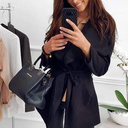 Krátký flaušový kabát - černý