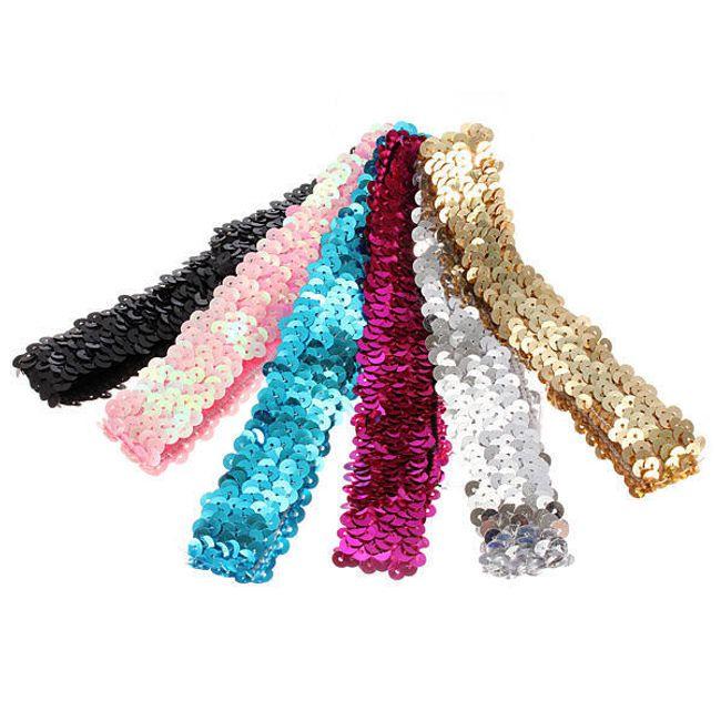 Elastická čelenka z barevných flitrů 1