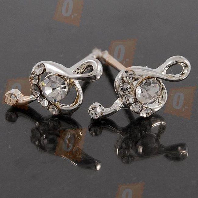 Elegancki kolczyki w kształcie klucza wiolinowego ozdobionego małymi błyszczącymi kamyczkami  1