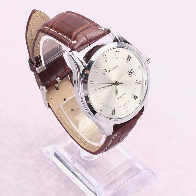 Pánské analogové hodinky s hnědým páskem 1