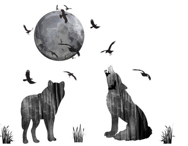 Nalepka z volkovi, ki tulijo na luno 1