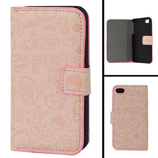 Koženkové designové ochranné pouzdro na iPhone 4 a 4S - růžový leisure time 1
