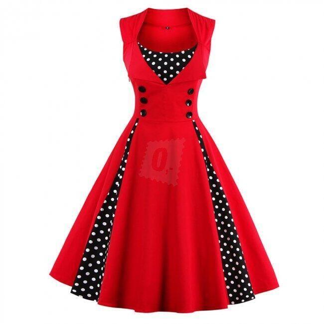 Retro šaty s puntíky - Červená-velikost č. 4 1