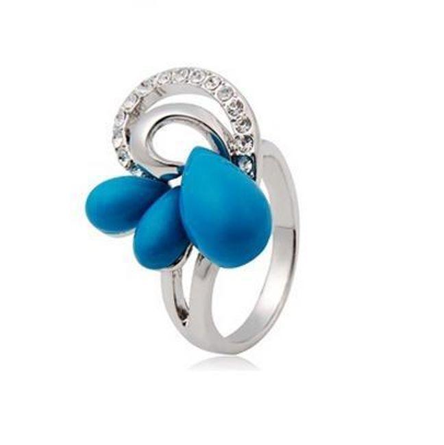 Originální prstýnek s modrými kameny 1