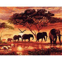 Akril festés festékkel - elefántok csorda a naplementében