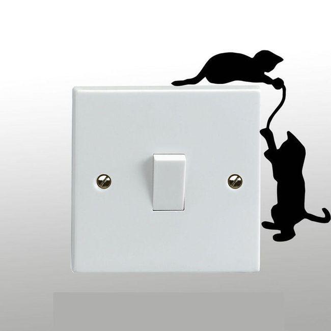 Hravá samolepka nad vypínač - kočičky 1