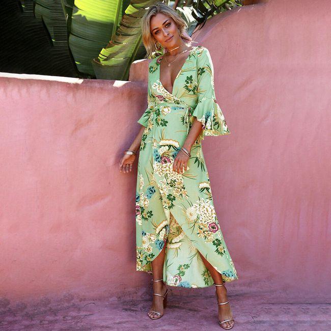 Dámské letní šaty s volánky - Zelená-velikost č. 5 1