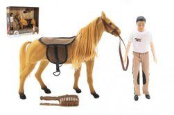 Kôň flíska česacia + panáčik kĺbový 30cm plast s doplnkami v krabici 45x39x12cm RM_00850380