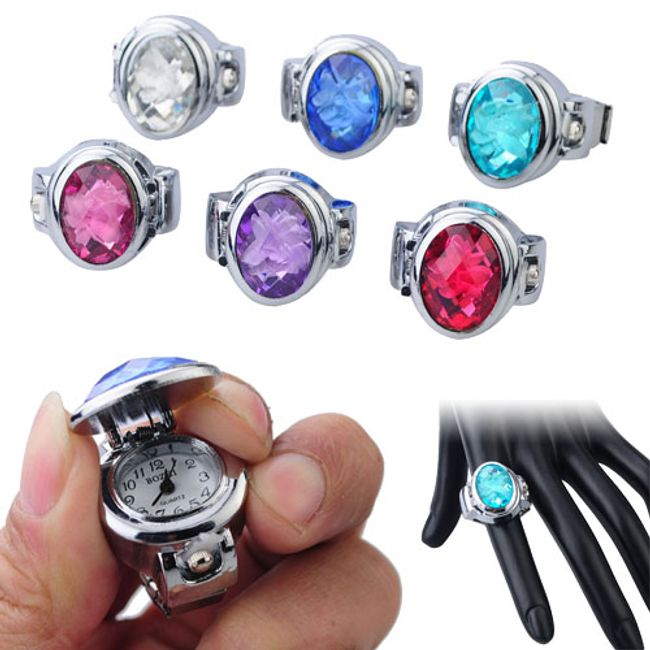 Prstýnkové hodinky s kamínkem 1