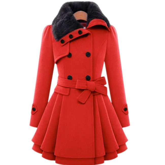 Dámský podzimní/jarní kabát Gabriele - Červená-velikost č. S 1