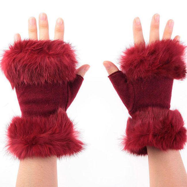 Dámské polo-rukavice s kožíškem - v 3 barvách 1