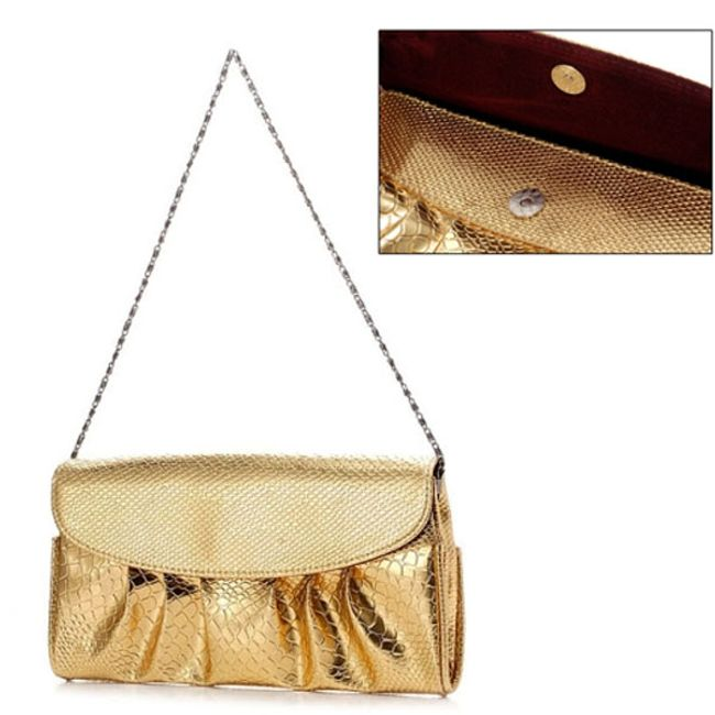 Metalická kabelka s raženým vzorem - 2 barvy 1