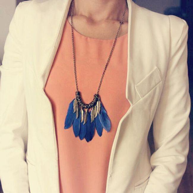 Vintage náhrdelník s barevnými pírky - modrý 1