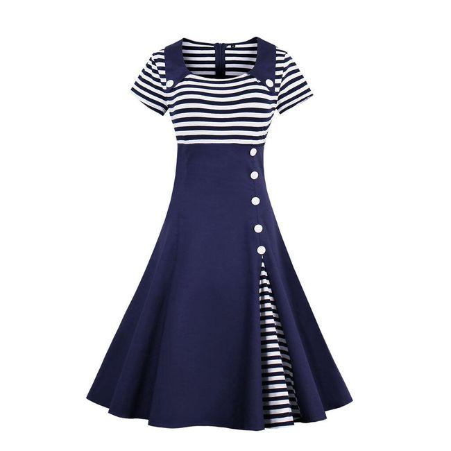 Námořnické retro šaty - Modrá-velikost č. 4 1
