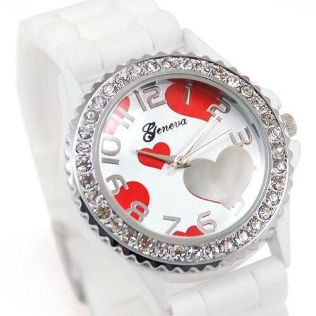Zegarek GENEVA z silikonowym paskiem i serduszkami - w 7 kolorach 1