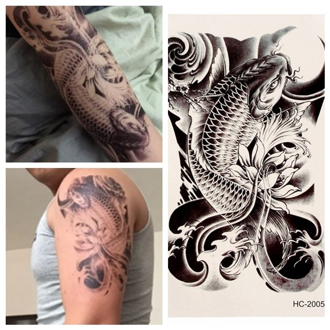3D переводная татуировка- Японский карп Koi 1