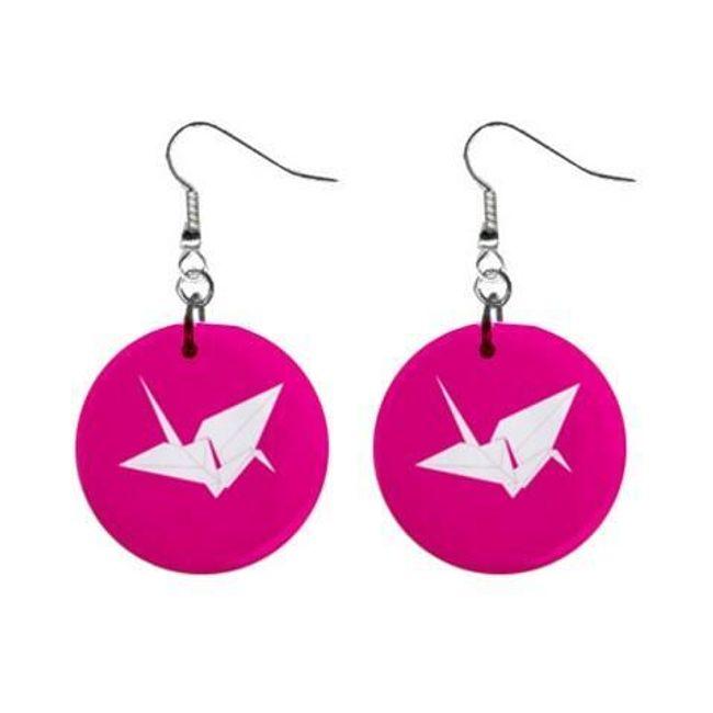 Круглые плоские серьги- Оригами лебедь 1
