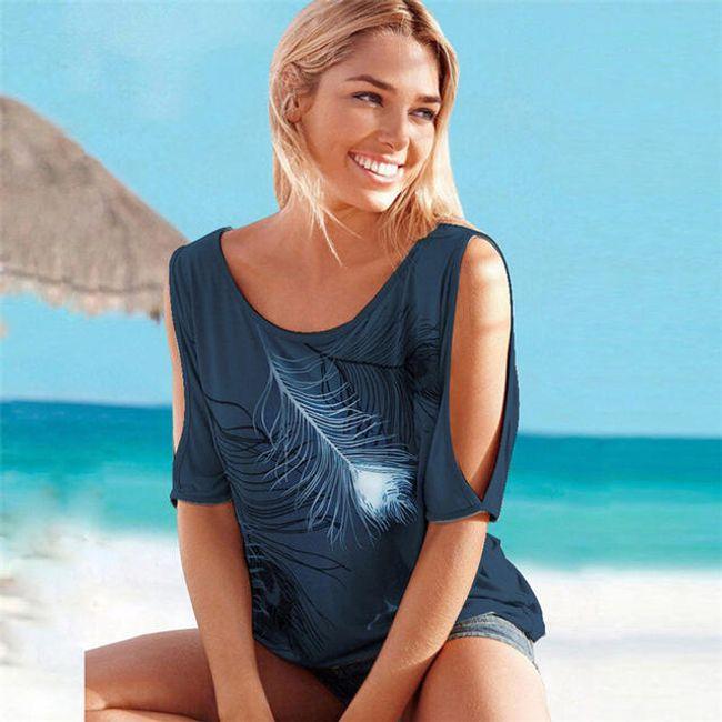 Dámské tričko s pírky a odhalenými rameny - Tmavě modrá-velikost č. 7 1