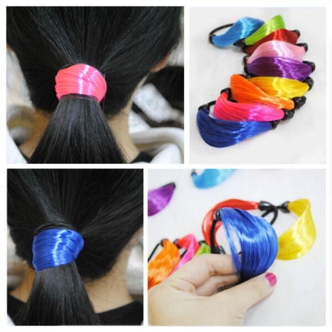 Gumička s umělými vlasy v zářivých barvách 1
