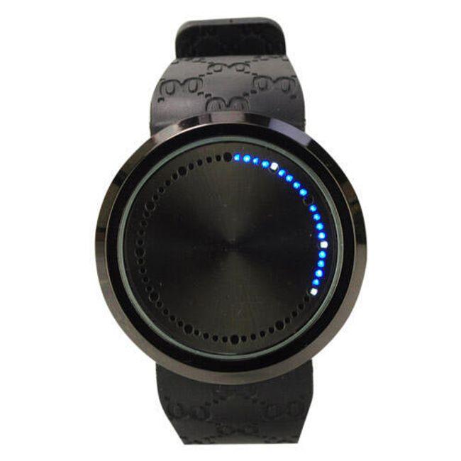 Unisex LED zegarek z niebieskimi LED diodami, kolor - czarny i biały 1