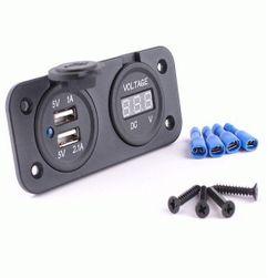 2 x USB zásuvka s měřičem napětí