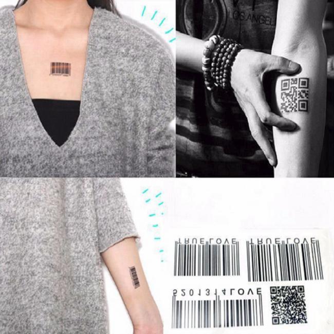 Переводная татуировка- Штрих-код 1