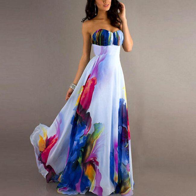 Ženska haljina bez naramenica sa motivima u boji  1