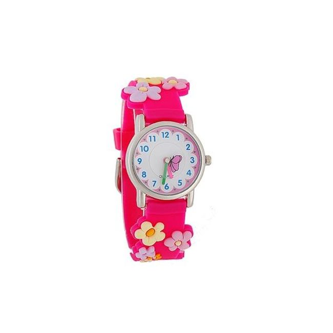 Růžové dívčí hodinky s motivem květů 1