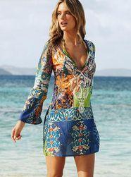 Plážové šaty s dlouhým rukávem - 4 velikosti