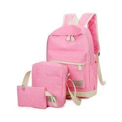 Zestaw plecaka, torebki i piórnika w kropki - 5 kolorów
