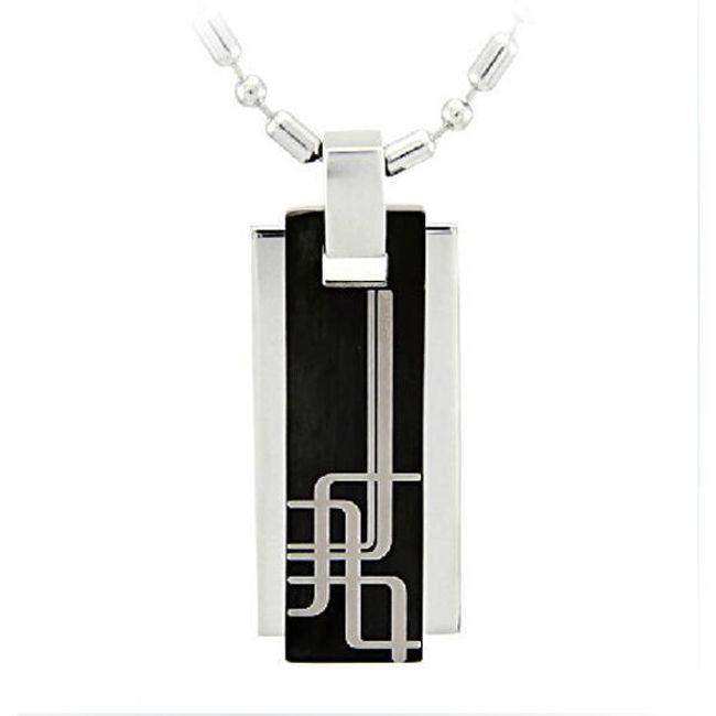 Męski łańcuszek  z zawieszką w czarno-srebrnym kolorze  1