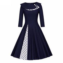 Retro šaty s puntíkatým zdobením - 3 barvy