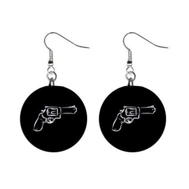 Круглые плоские серьги- Револьвер  1