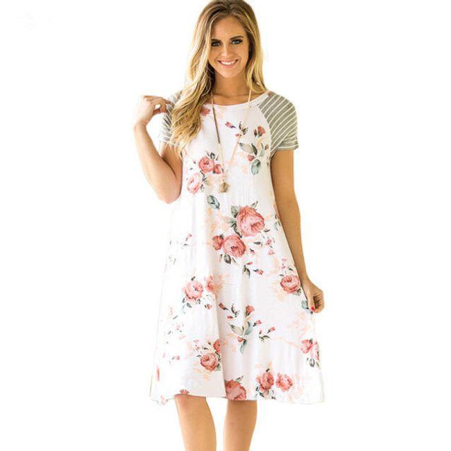 Dámské květované šaty s krátkými rukávy - Bílá-velikost č. 3 1