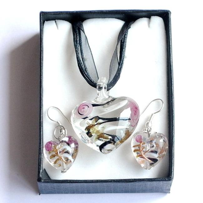 Set originalnog nakita sa staklenim srcima 1